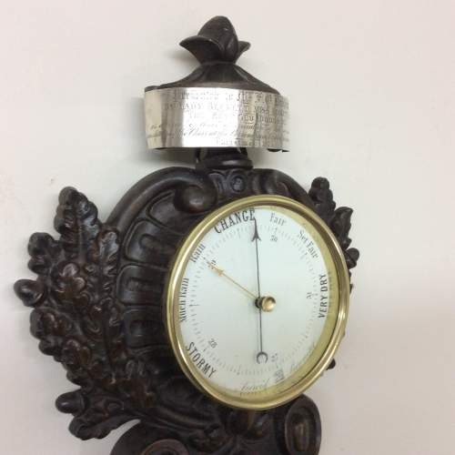 1875 Timepiece, Barometer & Thermometer in a Cast Iron Case image-6