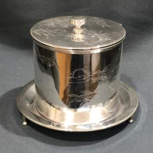 Aesthetic Period Silver Plated Biscuit Barrel by Hukin and Heath
