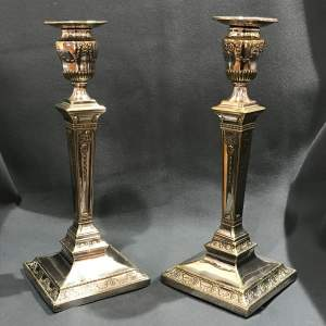 Fine Pair of Late Victorian Silver Plated Table Candlesticks