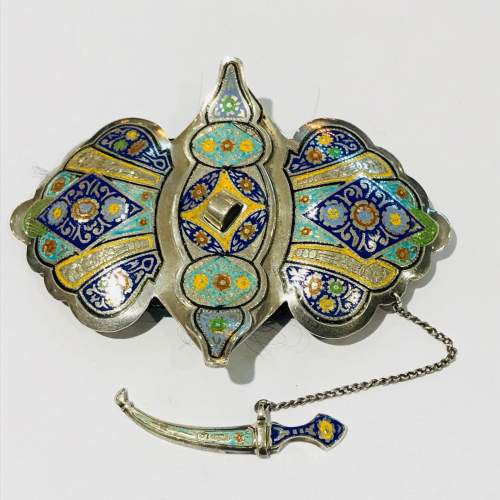 Fine Russian Silver and Enamel Buckle image-1