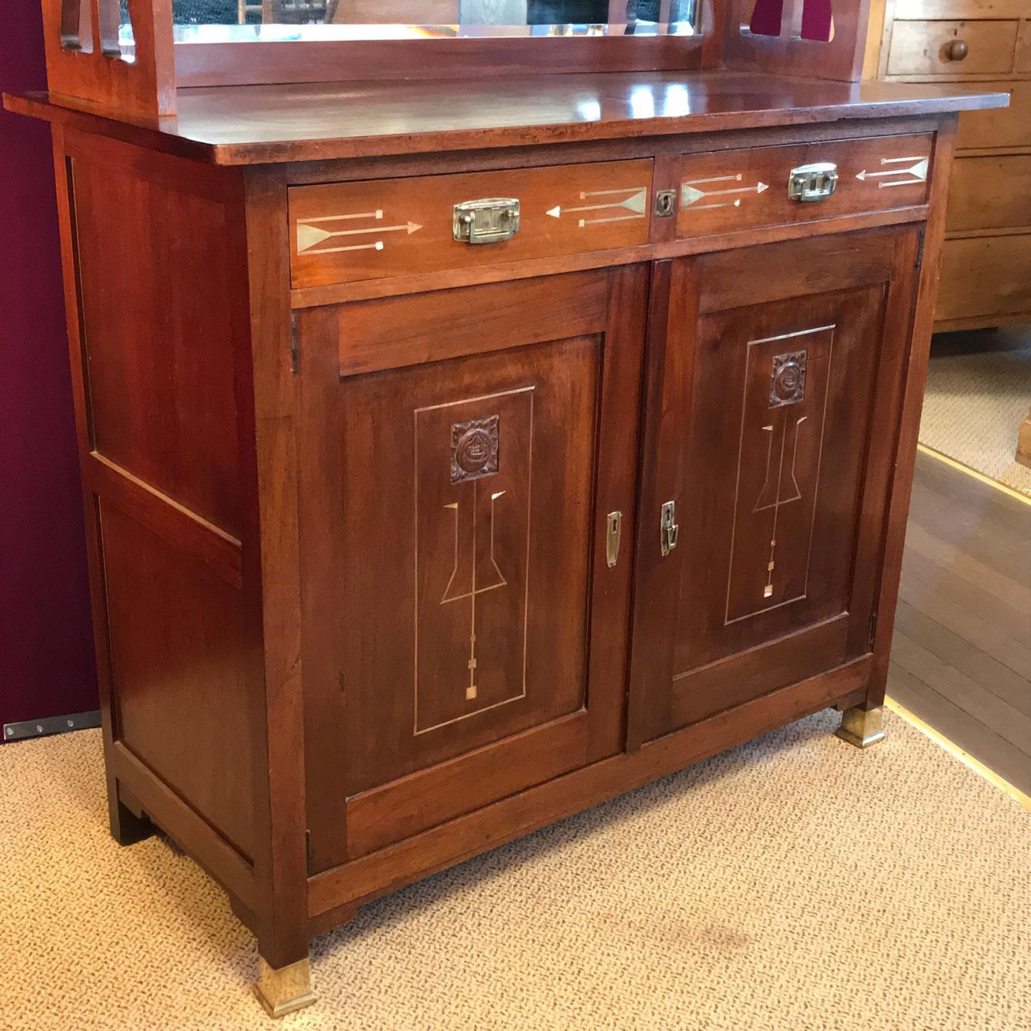 Arts and crafts mahogany mirrorback sideboard furniture for Furniture etc