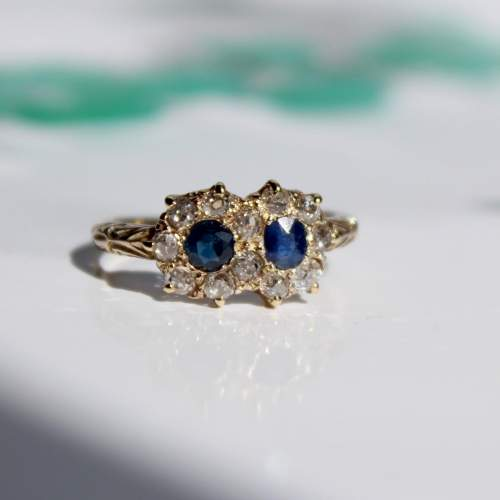 Diamond And Sapphire Cluster Ring image-2