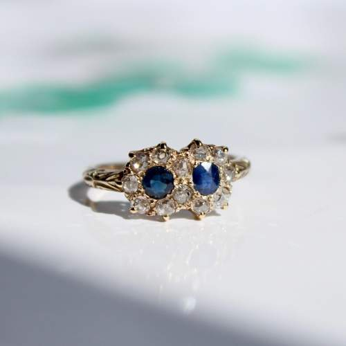 Diamond And Sapphire Cluster Ring image-3