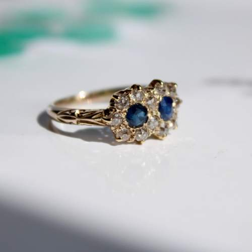Diamond And Sapphire Cluster Ring image-4