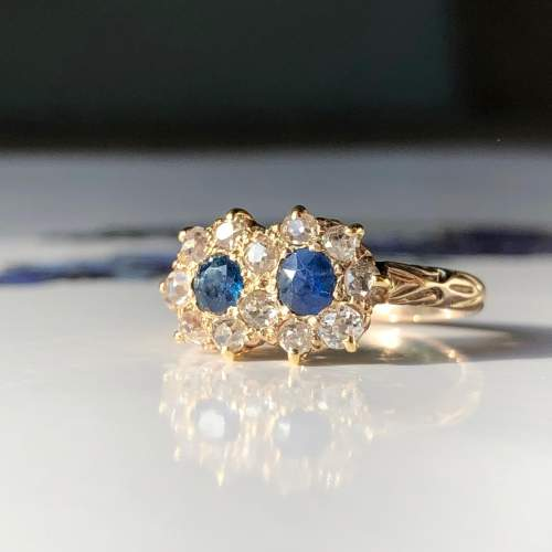 Diamond And Sapphire Cluster Ring image-5