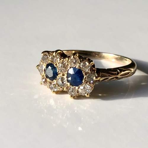 Diamond And Sapphire Cluster Ring image-1