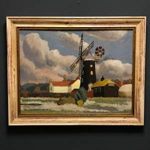 20th Century Windmill Painting by Christopher Tombleson