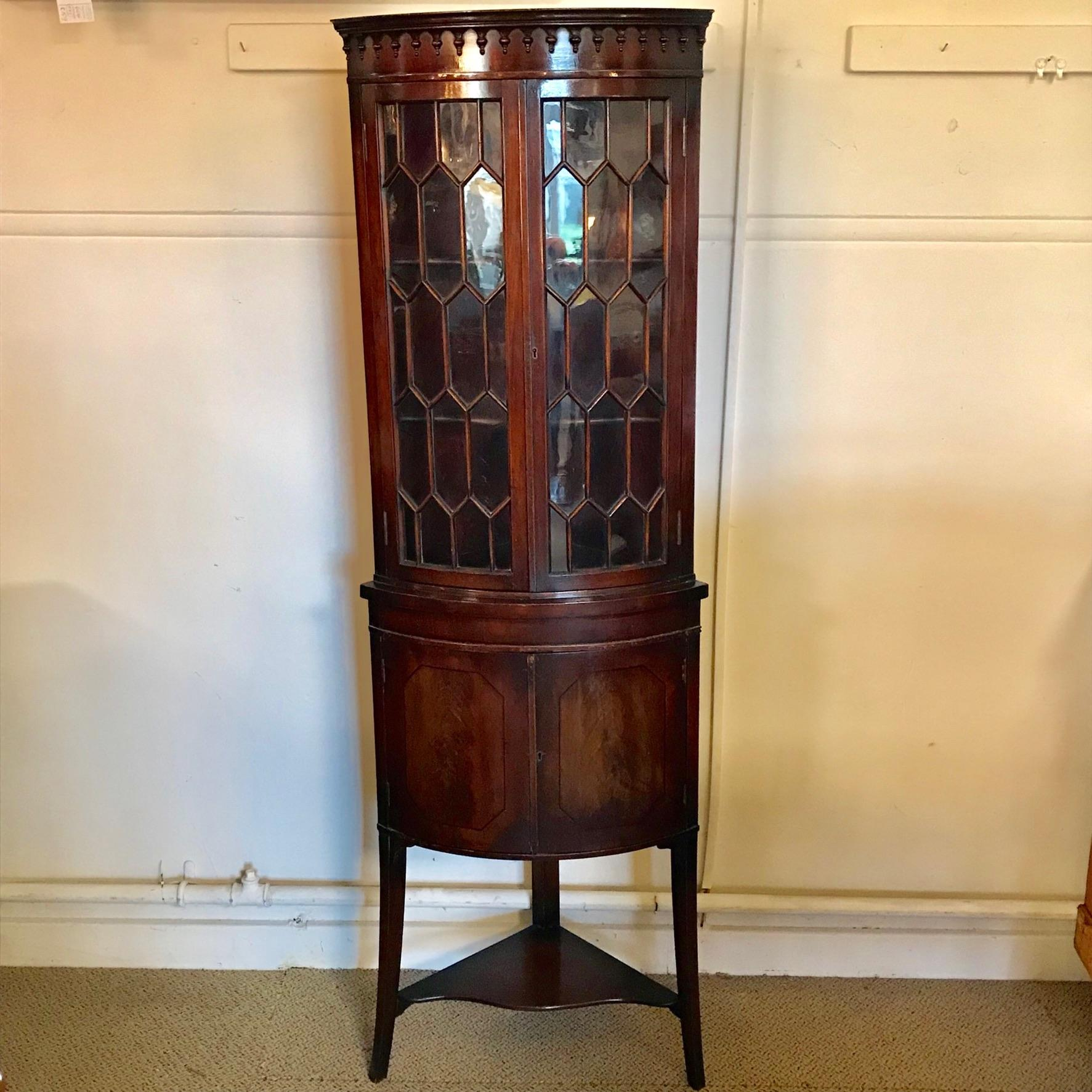 Tall Mahogany Corner Cabinet - Antique Cabinets - Hemswell ...