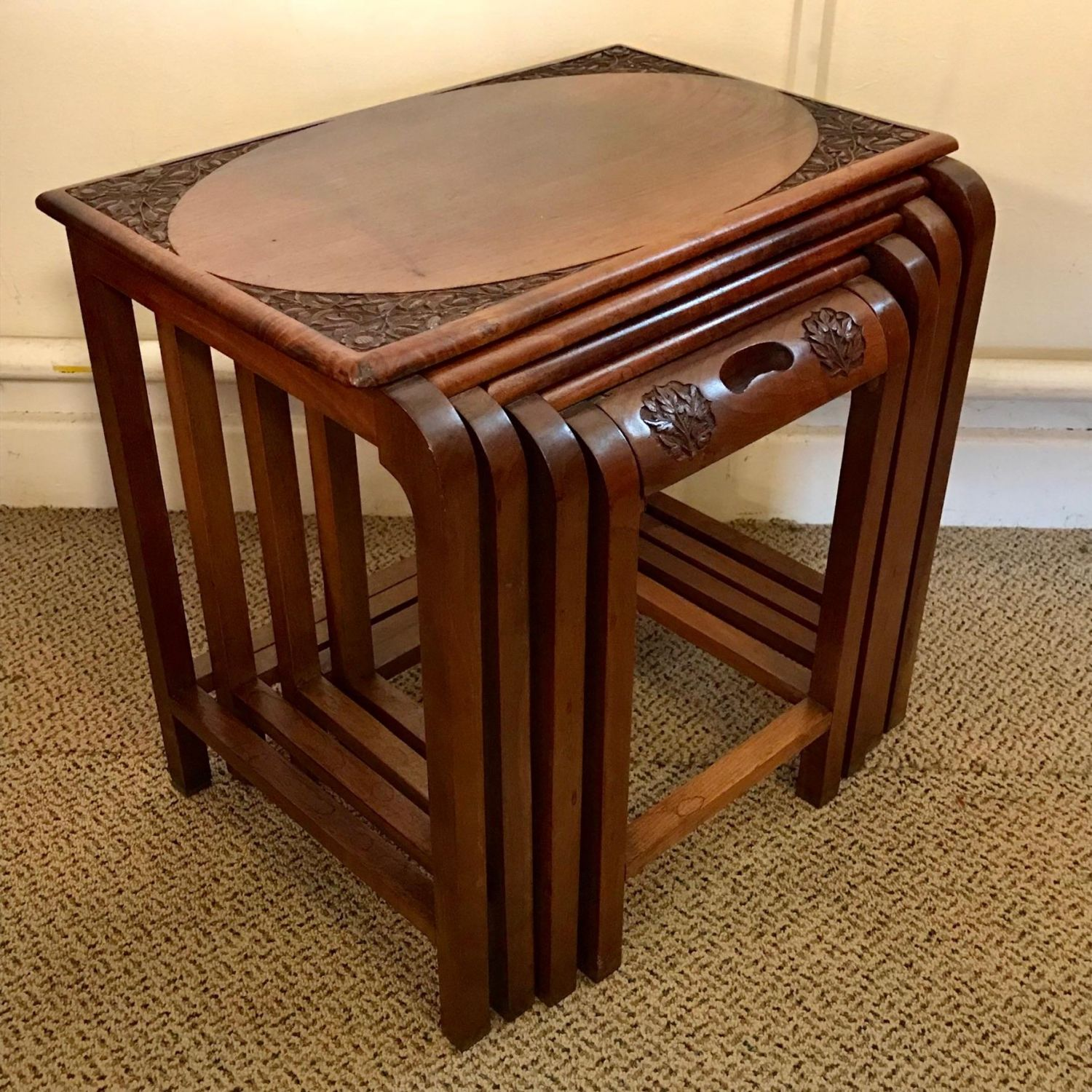 Oriental carved wood small nest of tables oriental for Small nest of tables