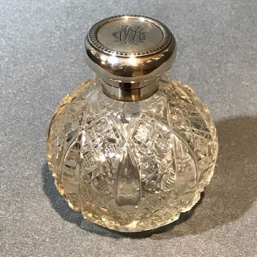 Asprey Silver Topped Cut Glass Perfume Bottle image-1
