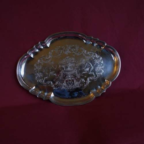 Danish Silver on Copper Engraved Salver image-1