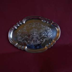 Danish Silver on Copper Engraved Salver