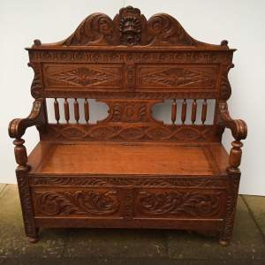 Victorian Carved Oak Hall Bench with a Hinged Seat Circa 1900
