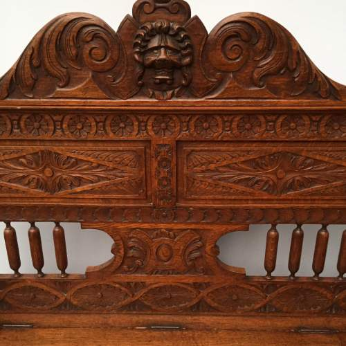Victorian Carved Oak Hall Bench with a Hinged Seat Circa 1900 image-2