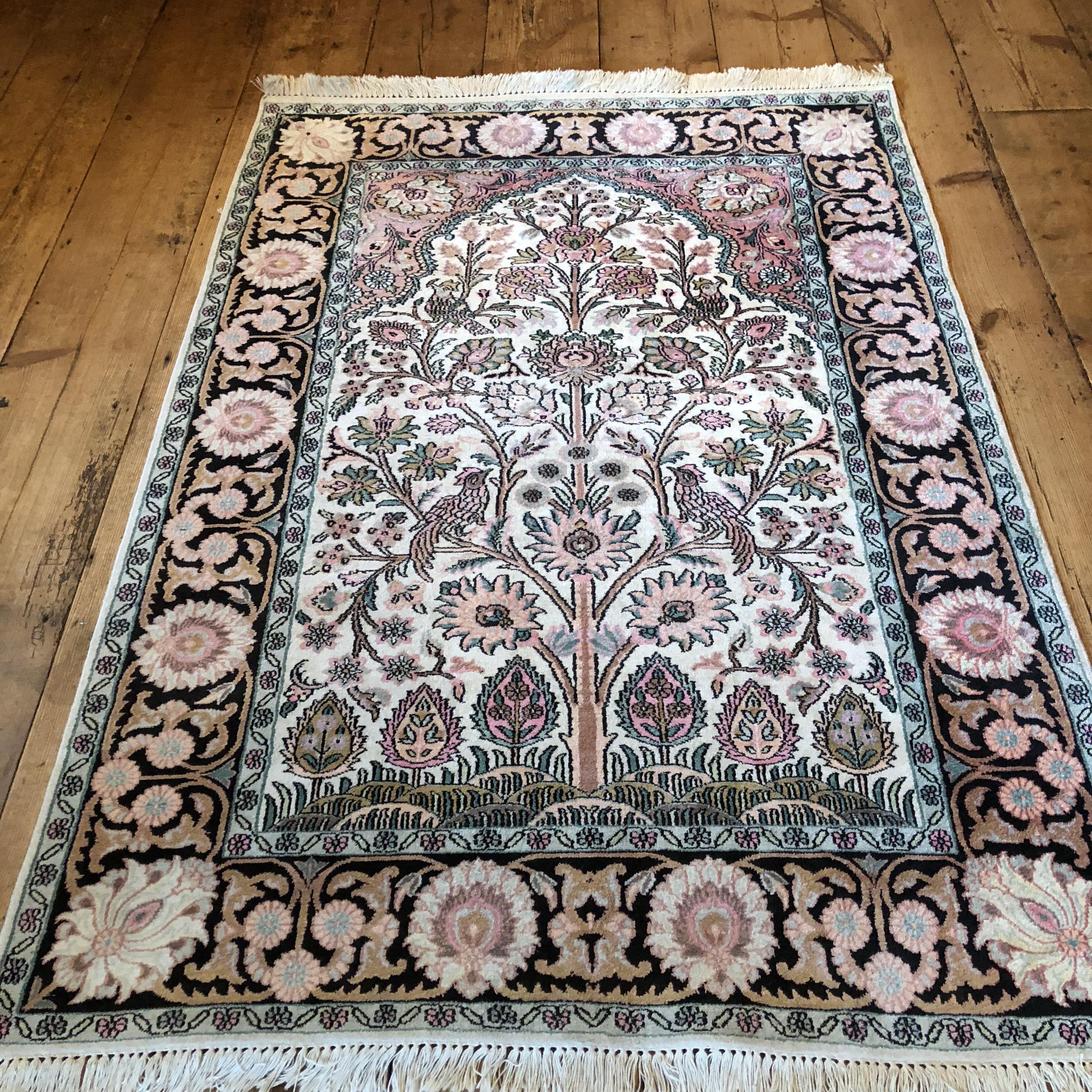 A Stunning Hand Knotted Pictorial Kashmir Rug Tree Of Life