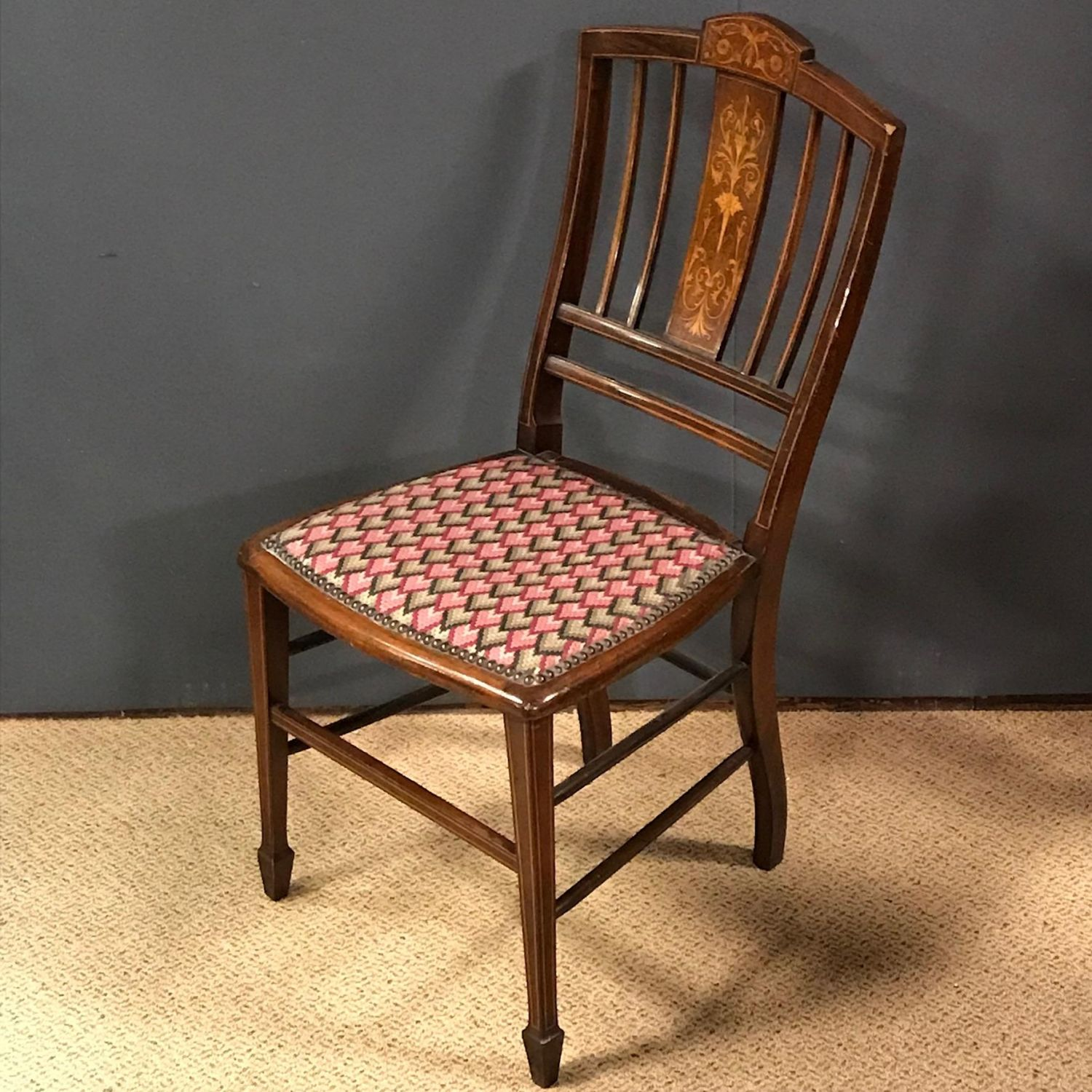 ... Antique Chairs; Edwardian Inlaid Mahogany Bedroom Chair.  4FE9A693-EACD-4C37-ACD1-E7AC3DD70C57.jpeg ... - Edwardian Inlaid Mahogany Bedroom Chair - Antique Chairs - Hemswell