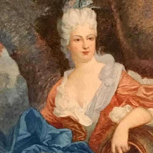 19th Century French Watercolour Portrait image-2