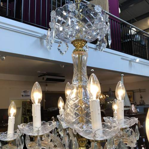French Glass and Crystal Draped 12 Branch Chandelier image-3