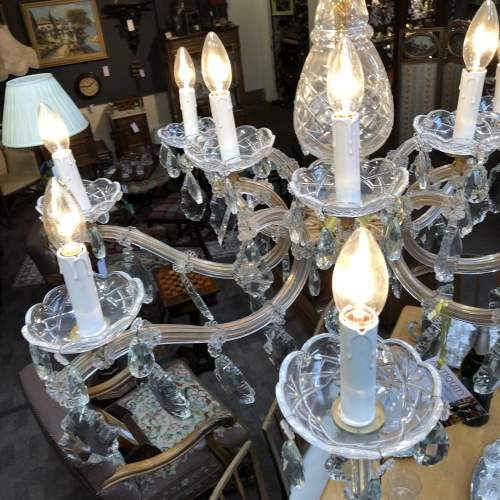 French Glass and Crystal Draped 12 Branch Chandelier image-4