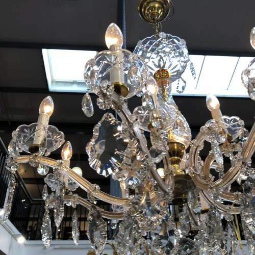 French Glass and Crystal Draped 12 Branch Chandelier image-5
