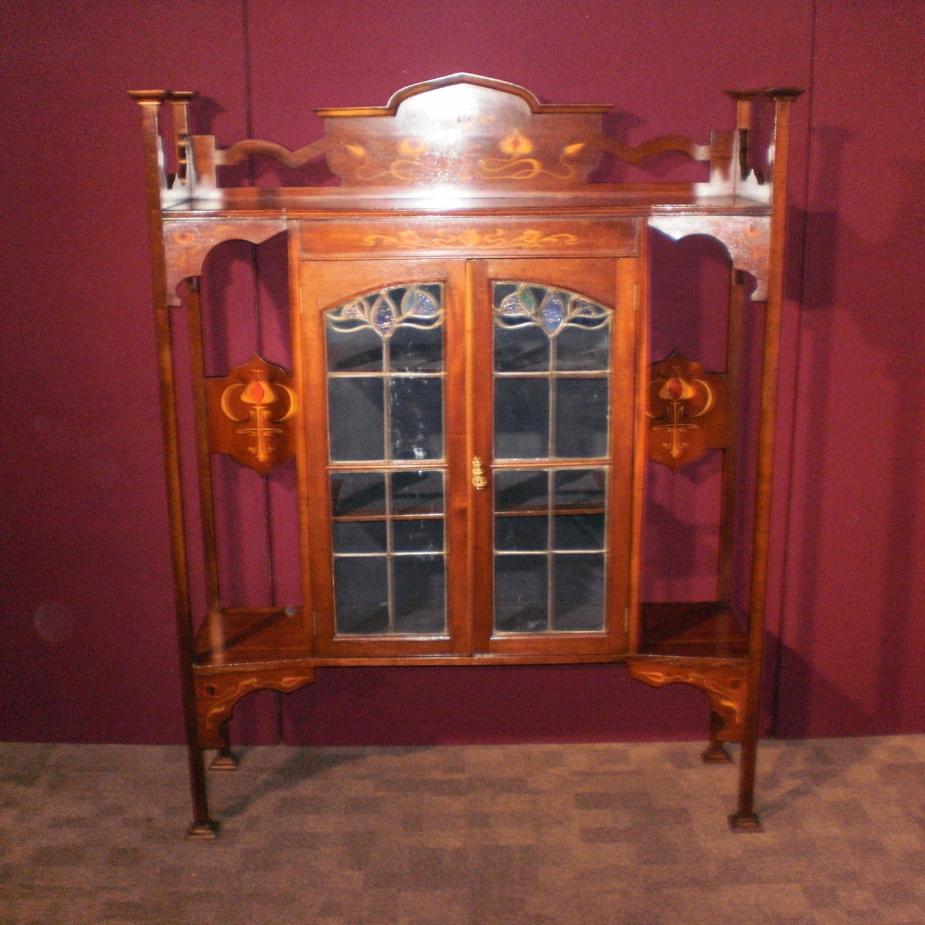 An art nouveau mahogany display cabinet furniture etc for Furniture etc
