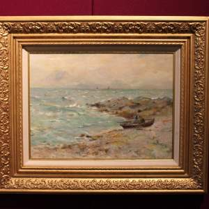 Seascape Painting of a Boat moored in a Rocky Cove by Alexander Wellwood Rattray