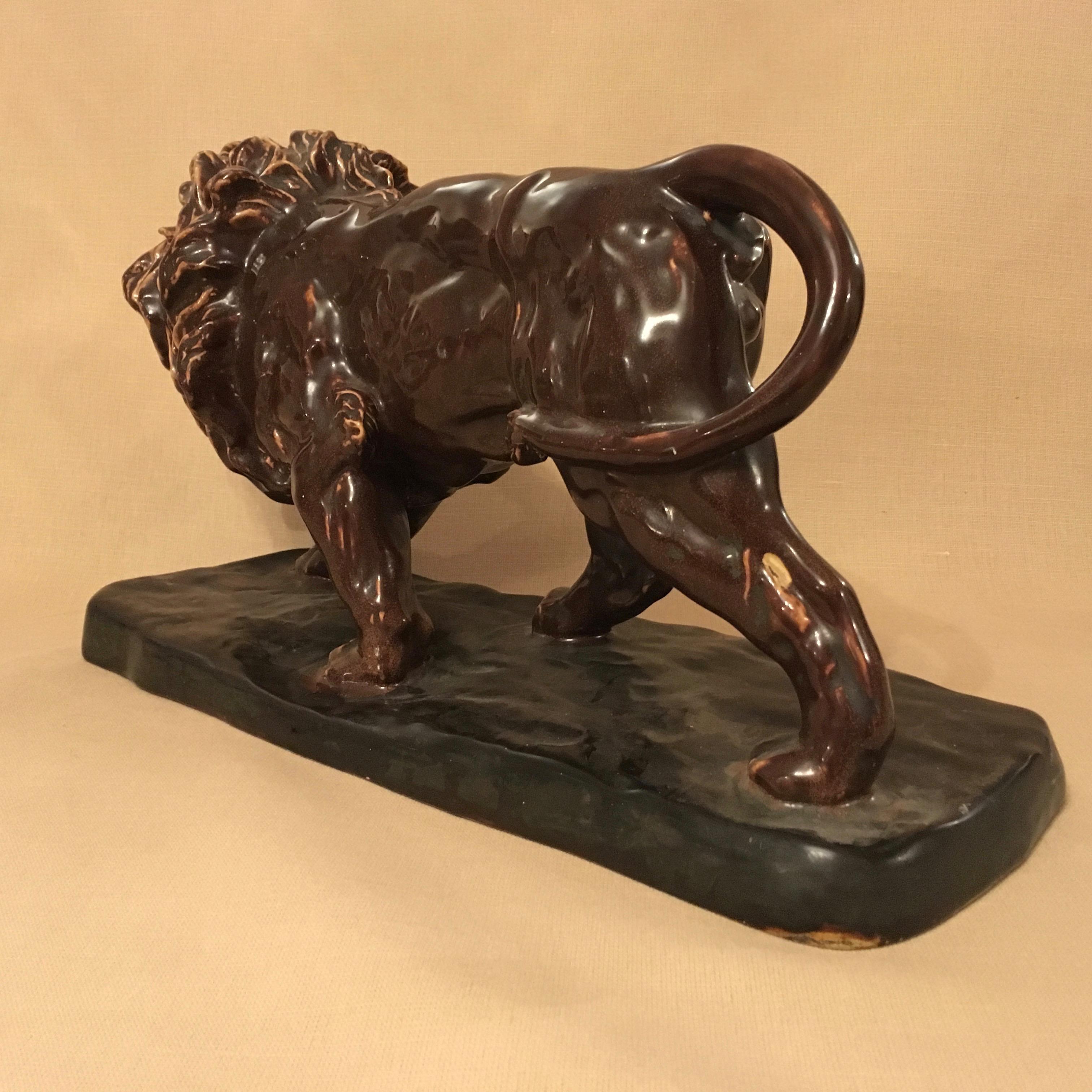 Art deco period ceramic lion antique ceramics hemswell for Art deco period