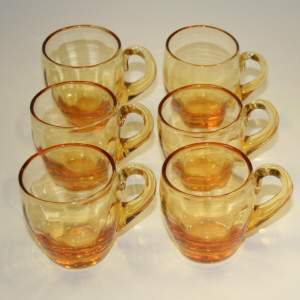 Wonderful Set of 6 Victorian Amber Coloured Glass Custard Cups