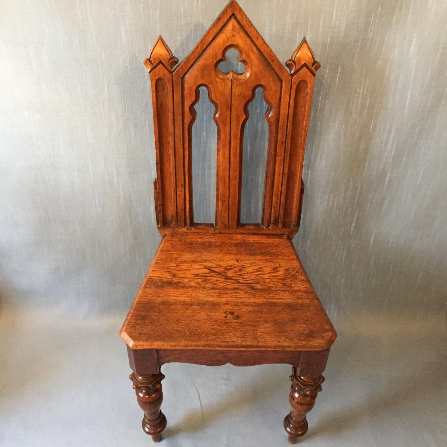 Golden oak gothic revival hall chair furniture etc for Furniture etc