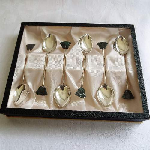 Set of 6 Boxed Chinese Silver and Jade Spoons image-2