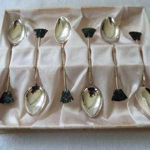 Set of 6 Boxed Chinese Silver and Jade Spoons