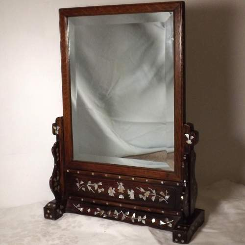 Chinese Late 19th Century Hardwood and Mother of Pearl Toilet Mirror image-1