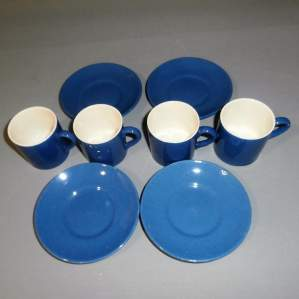 Moorcroft Powder Blue Art Deco 1930s Four Coffee Cans and Saucers