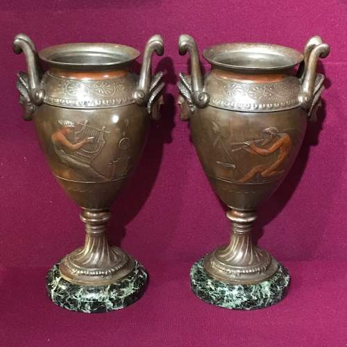 Pair of French Double Handled Patinated Metal Vases image-1