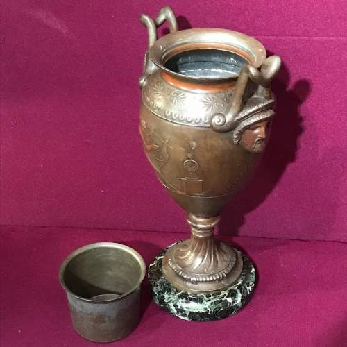 Pair of French Double Handled Patinated Metal Vases image-5