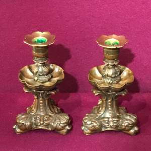 Pair of Cast Bronze Candleholders