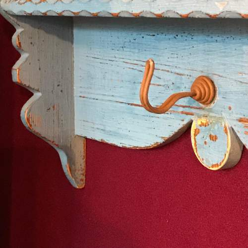 1920s French Blue Painted Pine Pot Shelf image-2