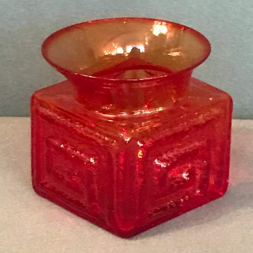 Rare Red Dartington Glass Vase by Frank Thrower image-2