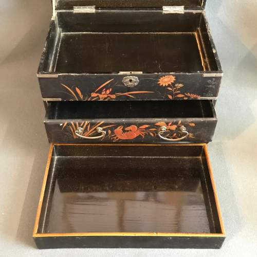 Oriental Lacquer Jewellery Work Box image-4