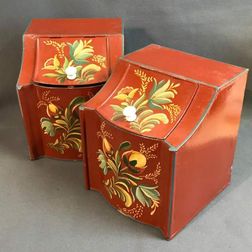 Set of Two American Toleware Metal Painted Canisters image-1