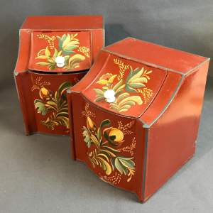 Set of Two American Toleware Metal Painted Canisters