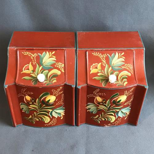 Set of Two American Toleware Metal Painted Canisters image-4