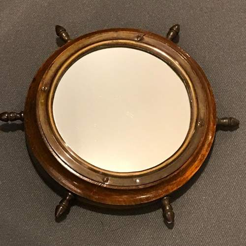 Small Wooden Framed Ships Wheel Mirror image-1