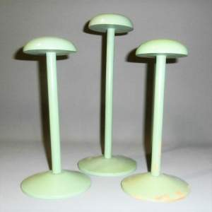 Three Delightful Vintage 1940s Milliners Green Painted Hat Stands