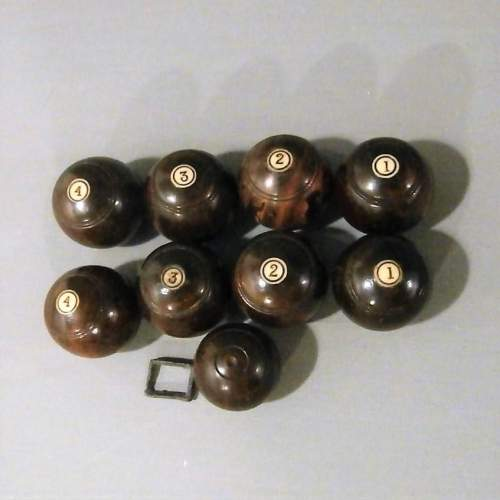 Nine Miniature Turned Wood Bowls Inset with Number Markers image-1