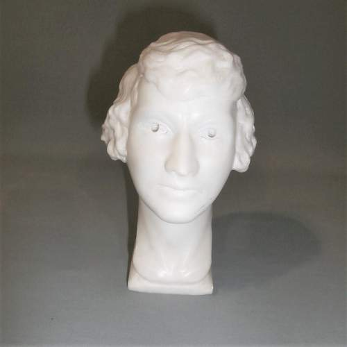 20th Century English School of Marble Head of a Young Lady image-2