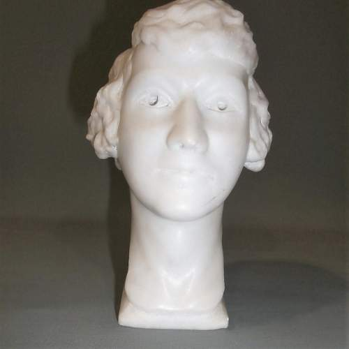 20th Century English School of Marble Head of a Young Lady image-4