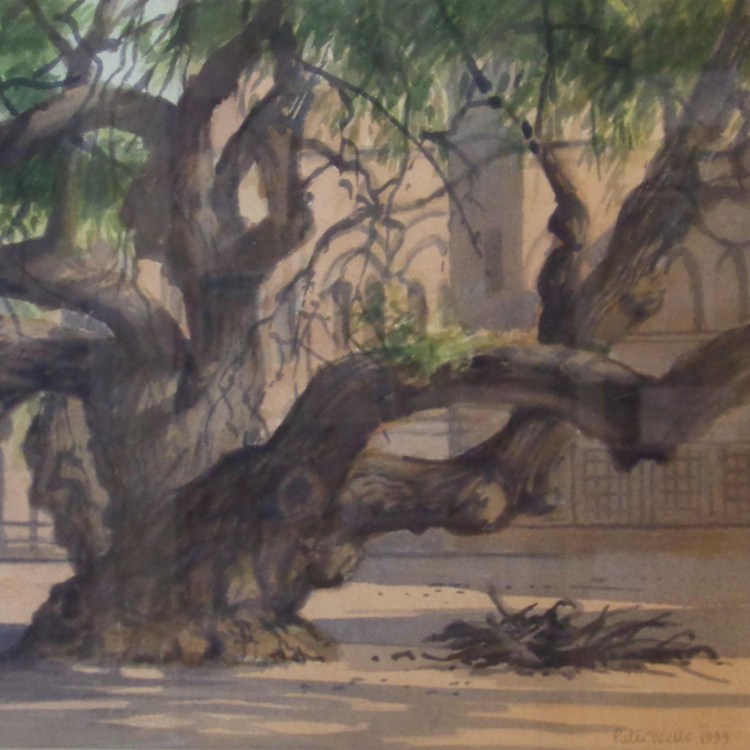 Framed Watercolour - Palace Courtyard Bhuj India