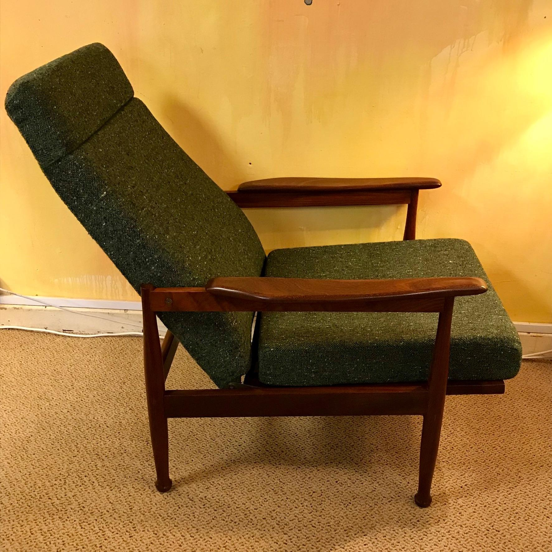 1960s teak adjustable reclining armchair furniture etc