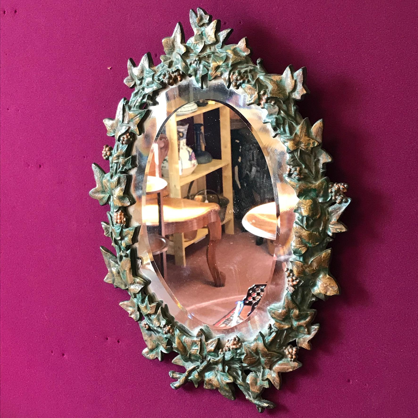 Victorian Cast Iron Framed Wall Mirror Antique Mirrors